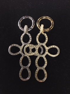 JM682BKC Brass Horseshoe Cross Keychain
