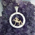 Small Saddlebred in Hammered Circle Pendant