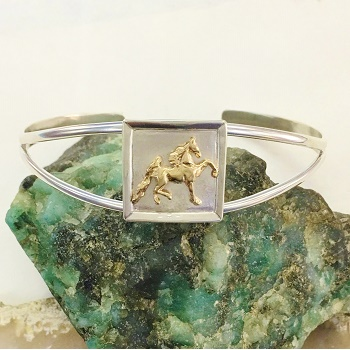 Two Tone Saddlebred in Frame Cuff Bracelet