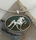 JET3254 SSDPPJ Sterling Silver Walking Horse Pendant set on Painted Desert Picture Jasper