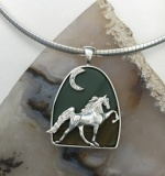 JET3254 SSDPPJCZMOON Sterling Silver Walking Horse With Moon set with CZs on Painted Desert Picture Jasper