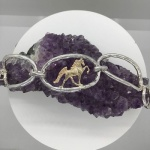 Oval Link Two Tone Walking Horse Bracelet