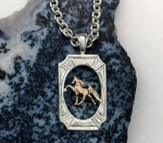 14kt Yellow Gold Walking Horse set in Sterling Silver Fancy Cut Frame