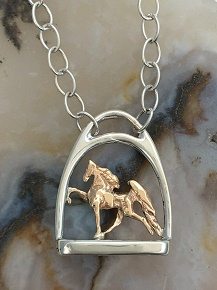 JET3278/ M763SSN Sterling Silver Stirrup and 14kt Yellow Gold Walking Horse Necklace
