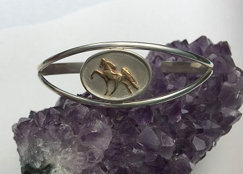 JET3278 R925514SS 14kt Yellow Gold Walking Horse and Sterling Silver Cuff Bracelet