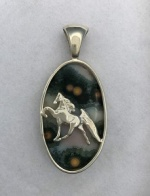 JET3278SSPDA Sterling Silver Tennesse Walking Horse Pendant Set on Ocean Jasper