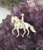 JET3315SS Sterling Silver Paso Fino Horse with Rider Pendant