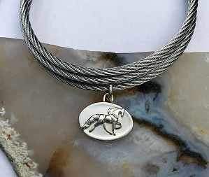 Sterling Silver Walking Horse Charm on Stainless Steel Bracelet