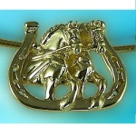 JET3454 14kt Yellow Gold Draft Horse Driving Team Pendant