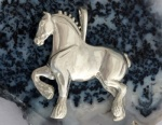 JET3507SS Large Sterling Silver Draft Horse Pendant