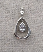 Draft Horse Work Collar With Pear Shaped CZ set in Sterling Silver Drop