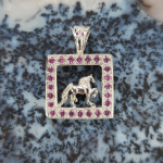 Gaiting Horse in Frame with Pink Tourmaline