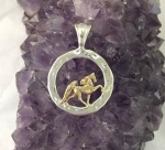 JM528SS/ JET3278 Sterling Silver Hammered Circle 14kt Yellow Gold Walking Horse