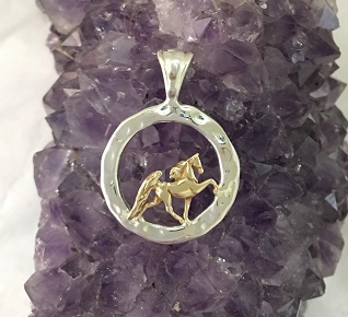 Sterling Silver Hammered Circle With Gold Walking Horse