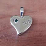 Horseshoes on the Heart Pendant with Birthstone - Sterling Silver