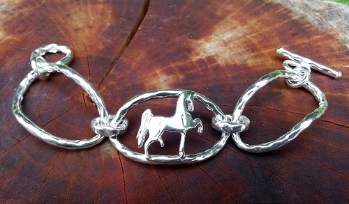 JM596TB Polly Horse Sterling Silver Toggle Bracelet