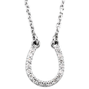 JM66412 14kt White Gold Diamond Horseshoe Necklace