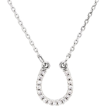 JM66412WG 14kt White Gold Diamond Horseshoe Necklace
