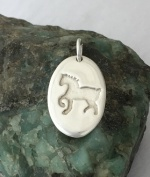 JM694SS Sterling Silver Draft Horse Tag Pendant