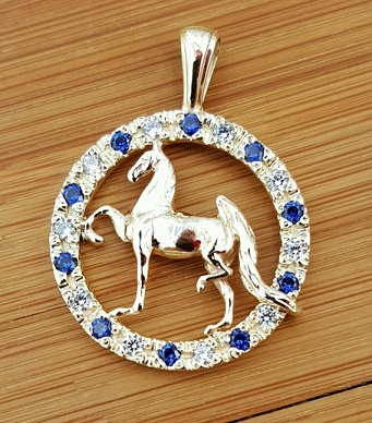 JM770/JET3273 14kt Yellow Gold Saddlebred in Circle Pendant With Diamonds and Sapphires