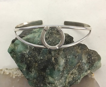 Horseshoe On Split Cuff Bracelet -  Sterling Silver