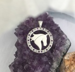 JM797SSA Sterling Silver Horse Head Silhouette in Amethyst and CZ Frame