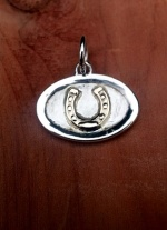 JM529/3595 Sterling Silver and 14kt Yellow Gold Horseshoe Charm