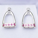 Stirrup Jackets With Synthetic Rubies - Sterling Silver