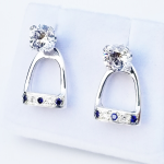 Stirrup Earring Jackets set with CZs and Sapphires  - Sterling Silver
