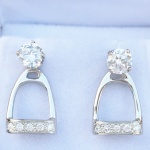 Stirrup Earring Jackets set with CZs - Sterling Silver