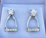 JM824SSCZ  Sterling Silver Stirrup Earring Jackets set with CZs