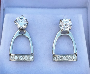JM824SSCZJ  Sterling Silver Stirrup Earring Jackets set with CZs