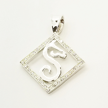 GH Signature Piece in Frame Pendant Set with CZs - Sterling Silver