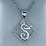 JM897SS/JM544SSCZ Sterling Silver Trademark Logo in Frame Pendant Set with CZs