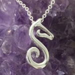 JM897SS Small Sterling Silver Trademark Logo Pendant on a Cable Chain