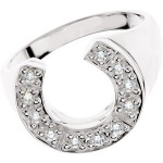 JM9034 Men's 14KT White Gold and Diamond Horseshoe Ring