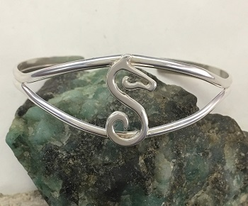 GH Trademark Logo on Cuff Bracelet - Sterling Silver