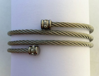 Stainless Steel Cable Bracelet with CZs