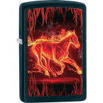 JMZ28304 Zippo® Flaming Horse Black Matte Lighter