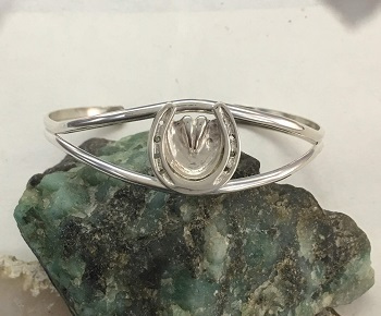 Sterling Silver Horse shoe with Frog Cuff Bracelet