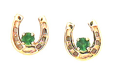 M2017AEER Small Emerald Horseshoe Earrings