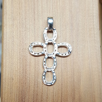M2321SS Sterling Silver Horseshoe Cross