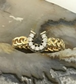 M628DR 14kt Yellow Gold and Diamond Horseshoe Ring on Braided Band