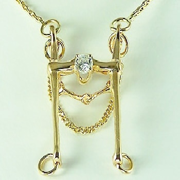M776DN Large 14kt Yellow Gold Snaffle Bit Necklace With Diamond
