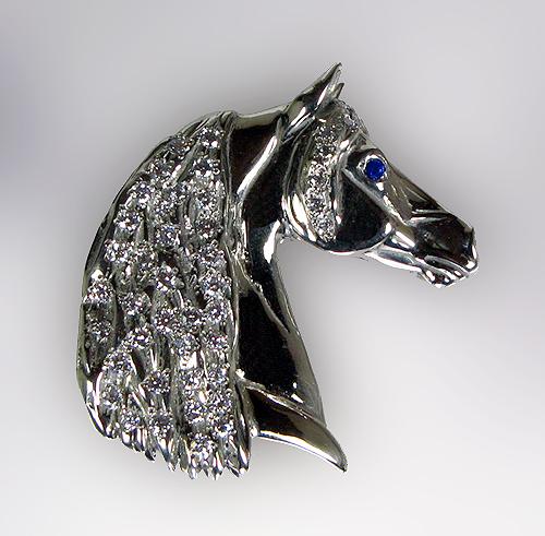 The gorgeous horse jet4011wgd diamond horse head pendant jet4011wgd diamond horse head pendant aloadofball Choice Image