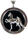 Saddlebred on Onyx Pendant - Sterling Silver