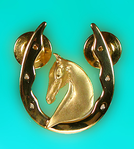 3 Gaited Head in Shoe Lapel Pin