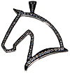 JET4016SSCZ Horse Head Outline Pendant in Sterling with Cubic Zerconias