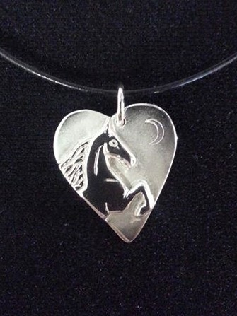JM604SS Horse on Heart Sterling Silver Pendant