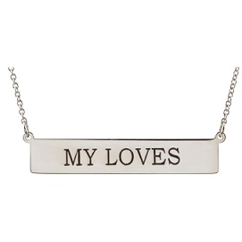 S85778SS Sterling Silver Engravable Bar Necklace